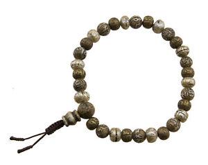 Braccialetto Mala Tibetano Rosario Perle IN Madreperla Da Conchiglia Ø 8.6mm 218