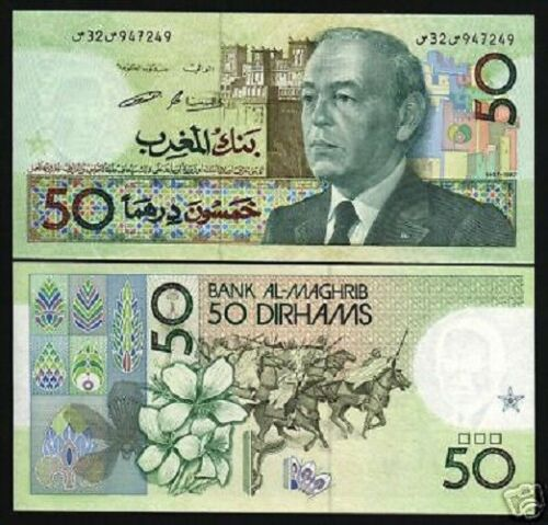 MOROCCO 50 DIRHAMS P64C 1987 KING HASSAN HORSE UNC AFRICA CURRENCY BILL BANKNOTE
