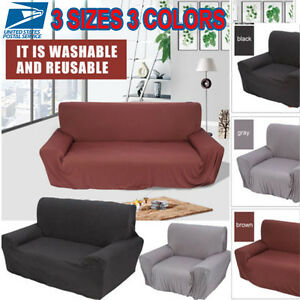 2017 Pure Color Lounge Couch Stretch Slipcover Sofa Full Cover For 1/2/3 Seater