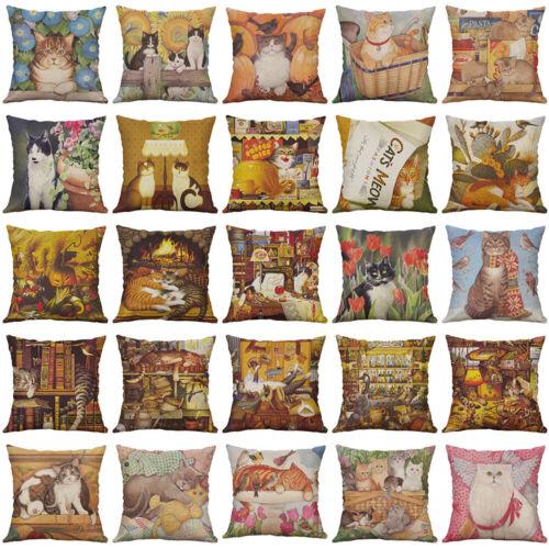 "18/"" fashion vintage Cat Cotton Linen Pillow Case Throw Cushion Cover Home Decor"