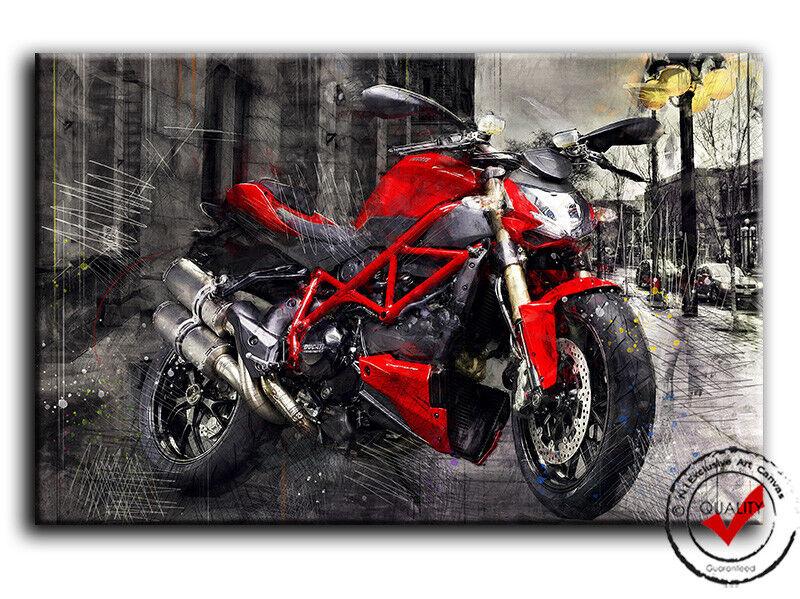 Ducati Streetfighter Bild Leinwand Bilder Motorrad Wandbild Poster Deko Rot