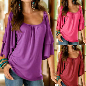 Women Summer Flare Short Sleeve Cold Shoulder Solid Blouse Casual Loose T Shirt