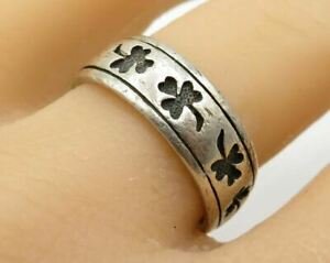 PSGL PETER STONE 925 Silver - Vintage Carved Clover Band Ring Sz 10.5 - R2563