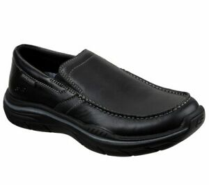 Skechers-Black-Shoes-Men-Memory-Foam-Slip-On-Comfort-Casual-Leather-Loafer-66420