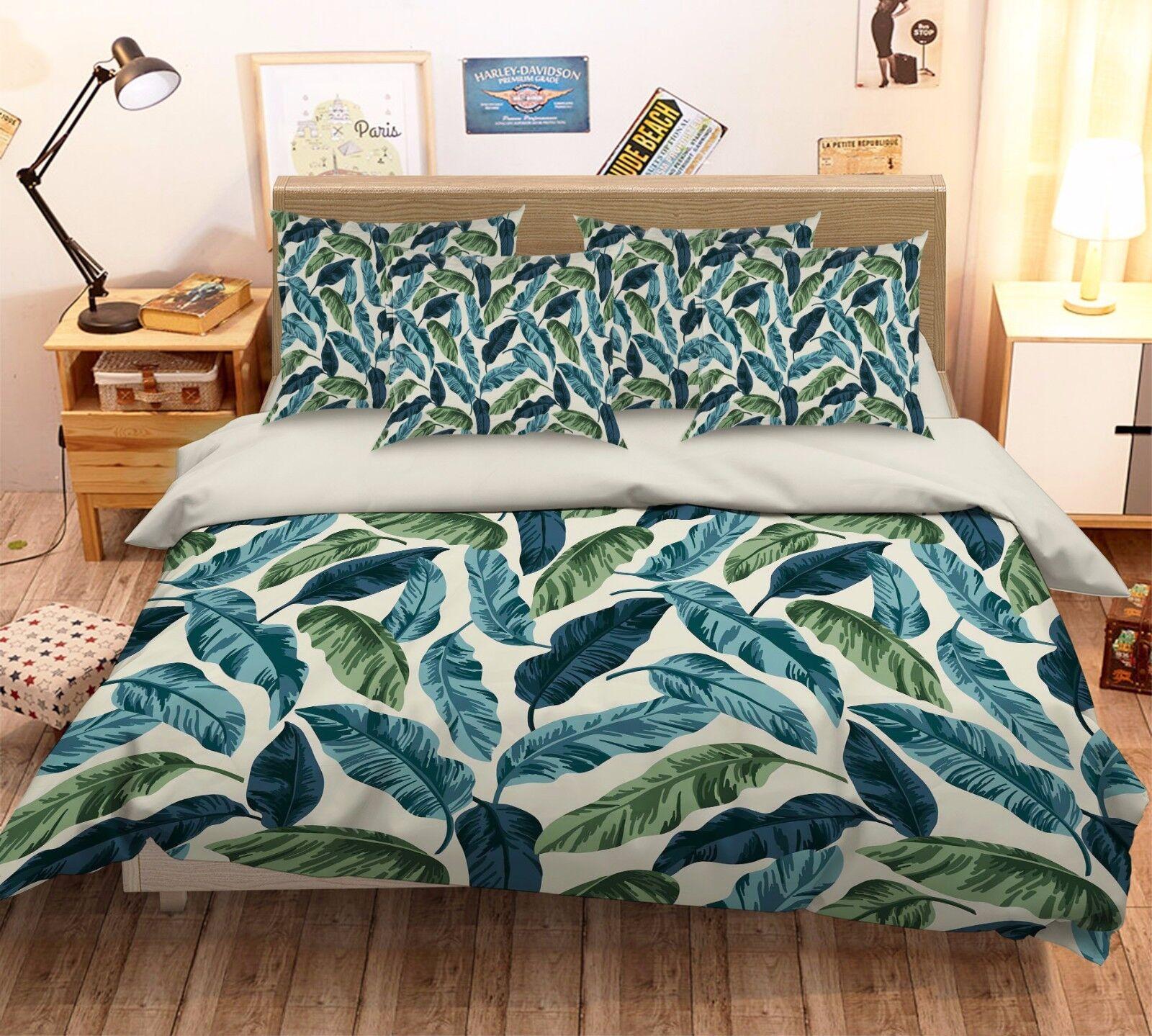 3D Leaves 391 Bett Pillowcases Quilt Duvet Startseite Set Single Königin König Größe AU