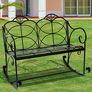 Image Is Loading Outsunny 2 Seater Metal Garden Bench Outdoor Glider