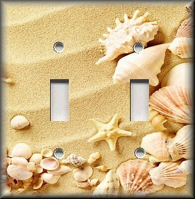 Beach Decor Wavy Sand And Beach Shells Metal Light Switch Plate Cover Beach