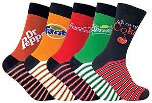 Coca-Cola-5-Pack-Unisex-Mens-amp-Womens-Funky-Novelty-Branded-Logo-Cotton-Socks