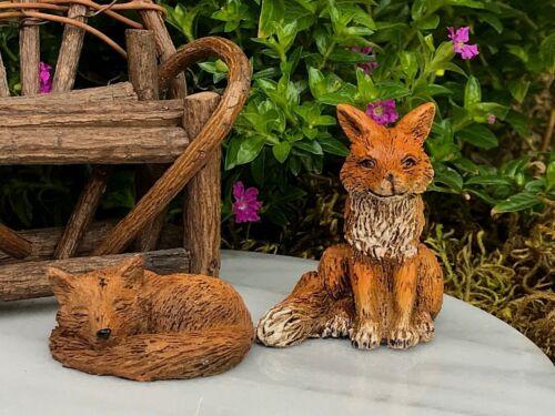 Miniature Dollhouse FAIRY GARDEN Accessories ~ Fox Figurine Set of 2 Foxes ~ NEW