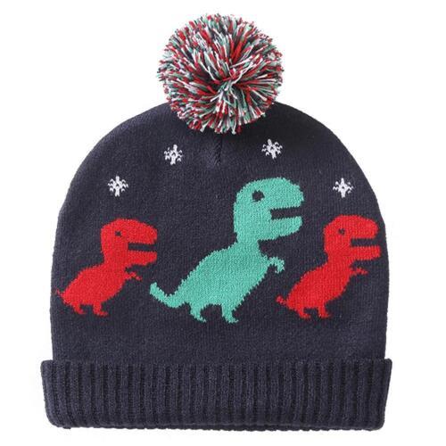 Cute Toddler Kids Boys Girls Cartoon Dinosaur Print Warm Hat Pompom Knitted Cap