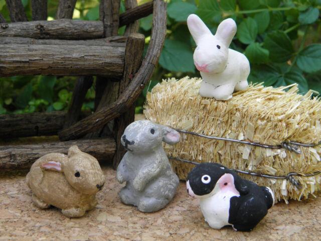 Miniature Dollhouse FAIRY GARDEN ~ Set Of 4 Rustic Bunny Rabbits ~ NEW