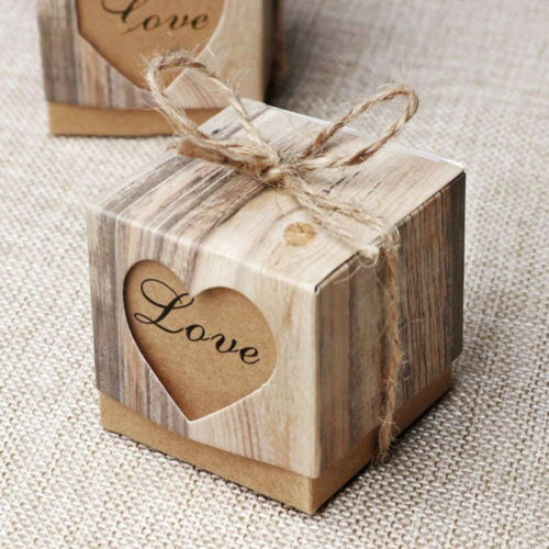 50PCS Wedding Favor Boxes Paperboard Sweet  Love Heart Cube Gift Candy Case