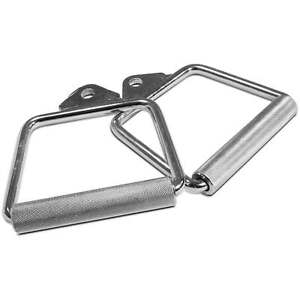 Titan-Pair-of-6-1-2-034-D-Handle-Cable-Attachments-Chrome-Bar-Pull-Machine-Strength
