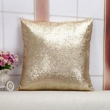 """Sequin Beaded Cushion Cover Gold Sofa Cushion Cover  Pillow Cover 16""""x16"""""""