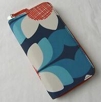 Fossil Key Blue Floral Nylon Per Zip Clutch Wallet