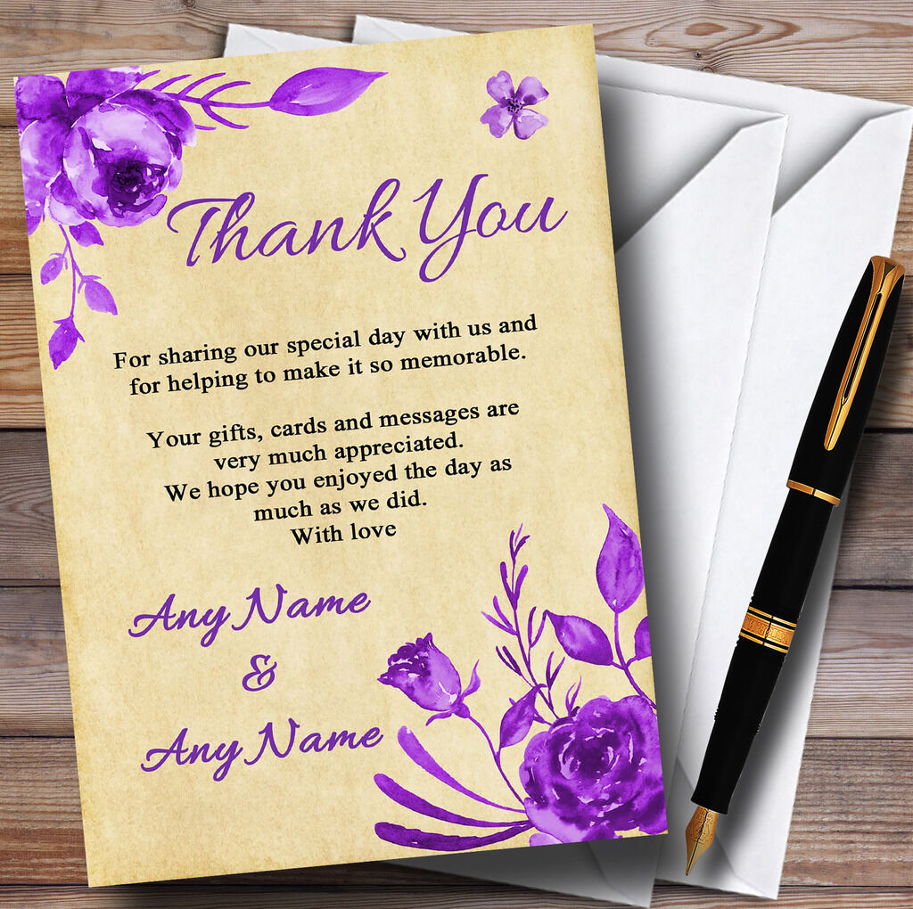 Vintage Cadbury lila Watercolour Floral Personalised Wedding Thank You Cards
