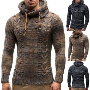 Mens-Knit-Hoodie-Coats-Jacket-Sweater-Sweatshirt-Jumper-Tops-Outwear-Pullover