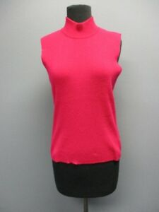 817b1ec817fcf Image is loading DANA-BUCHMAN-Pink-Sleeveless-Turtleneck-Cashmere-Solid- Sweater-