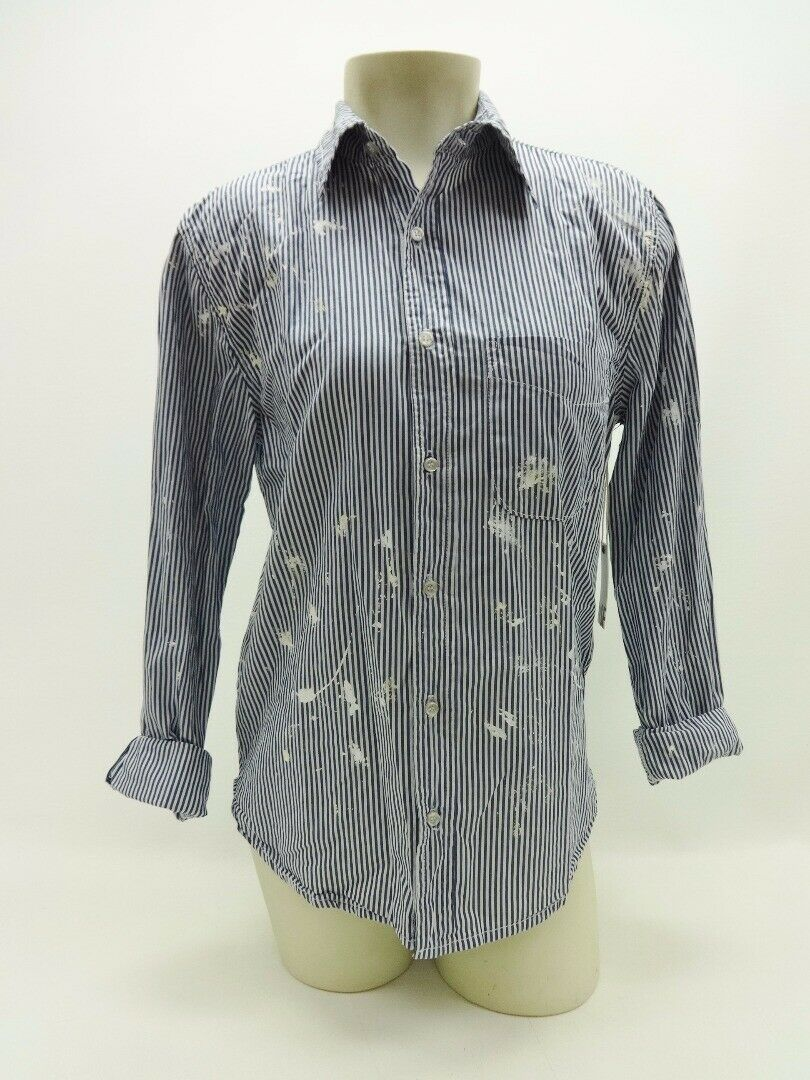 NSF Blau Weiß Pinstriped Paint Splatterot Long Sleeve Button Front Shirt S