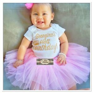 Baby Girl Personalized Gold Glitter Gerber Onesie, Personalized Half Birthday