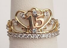 10k Gold Rose Yellow Crown CZ 15 Quice Quincenera Ring Band Birthday Ladies