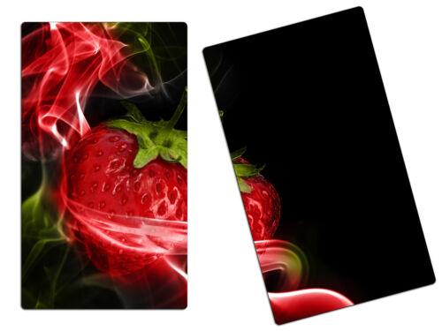 Herdabdeckplatte Schneidebretter Spritzschutz SET HA59052985 Erdbeeren