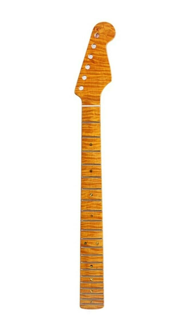Flamed Maple Neck for Strat   21 Frets Replacement for ST Style  Vintage Natural