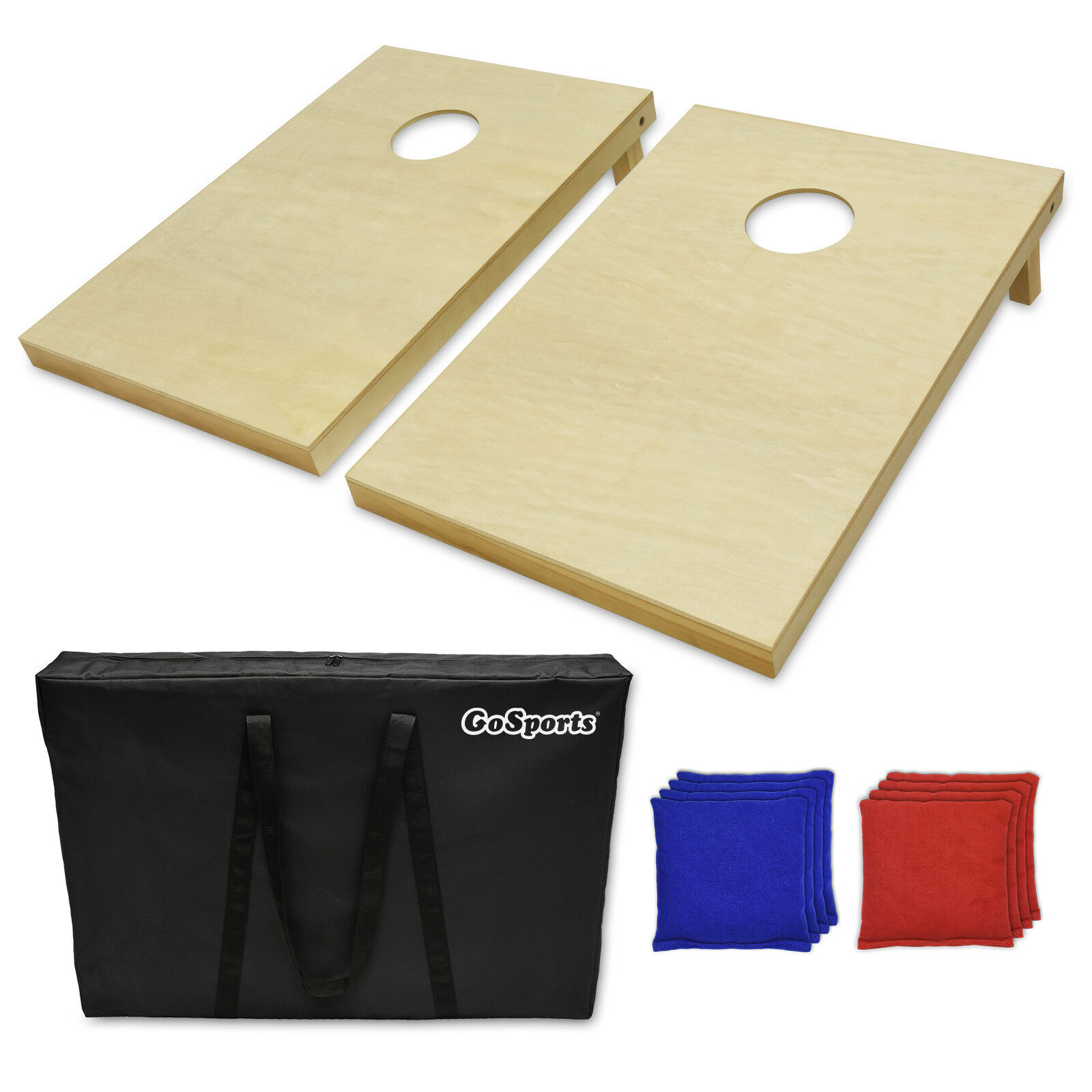 Finished Wood Tailgate Size Portable Cornhole Toss Game w 8 bags and Carry Bag