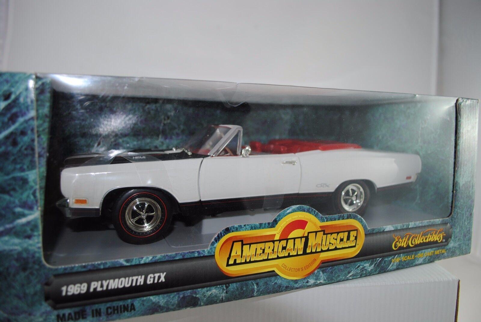 1 18 ertl - 1969 Plymouth GTX converdeible bianca rareza-nuevo en el embalaje original