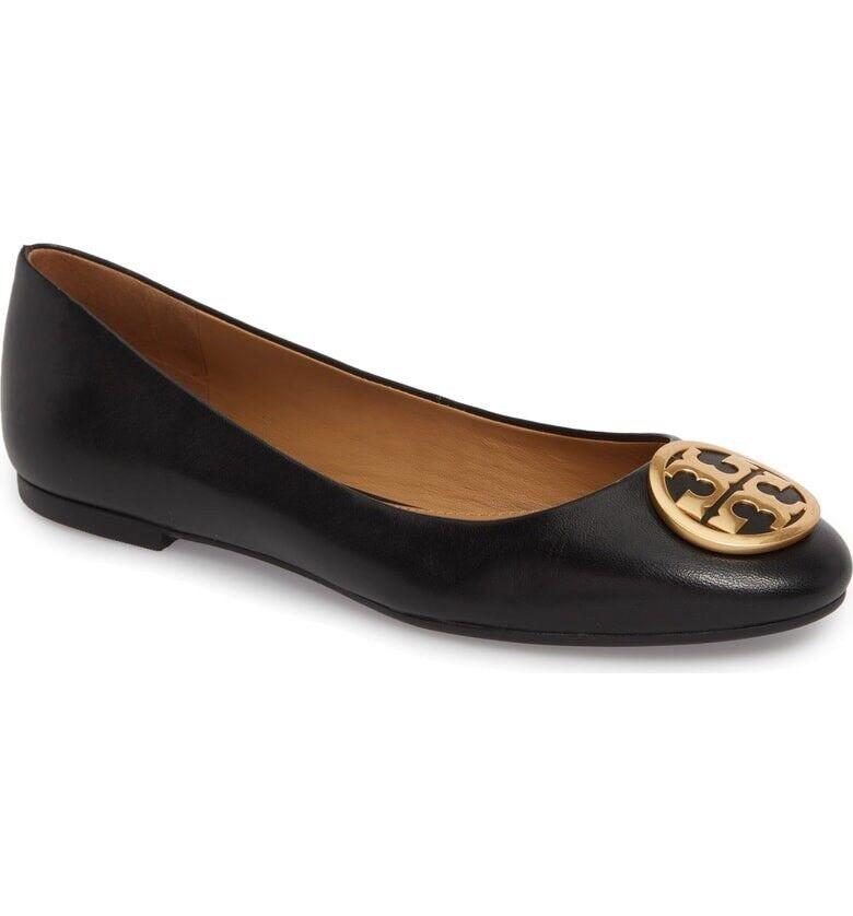 NEW Tory Burch Benton Black Leather Ballet Flat Size 4.5 gold Logo