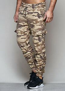 Cargo-Jeans-Camouflage-Braun-Army-Trousers-Slim-Fit-Stretch-Sweatpants