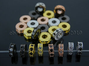 Zircon-Gemstones-Pave-Rondelle-Bracelet-Connector-Charm-Beads-Silver-Gold-Rose