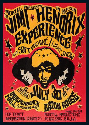 Jimi Hendrix Experience Baton Rouge Repro Tour Poster