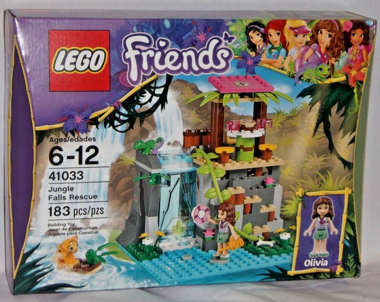 SEALED 41033 LEGO Friends JUNGLE FALLS RESCUE Olivia Brunette Tiger 183 pcs set