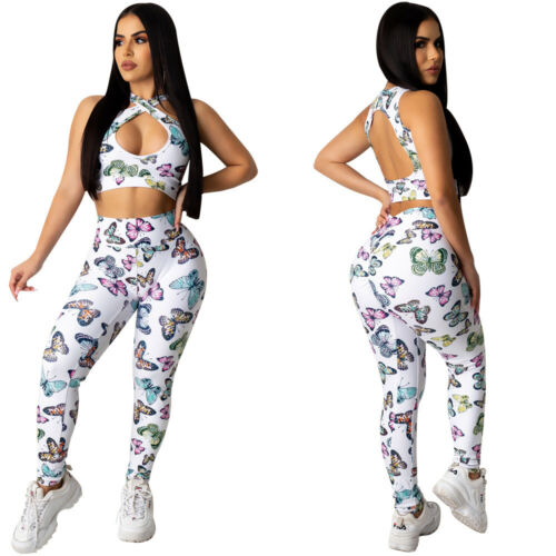 NewWomen Butterfly Backless Crop Tops Bodycon Pants Set Night Club Jumpsuits 2pc