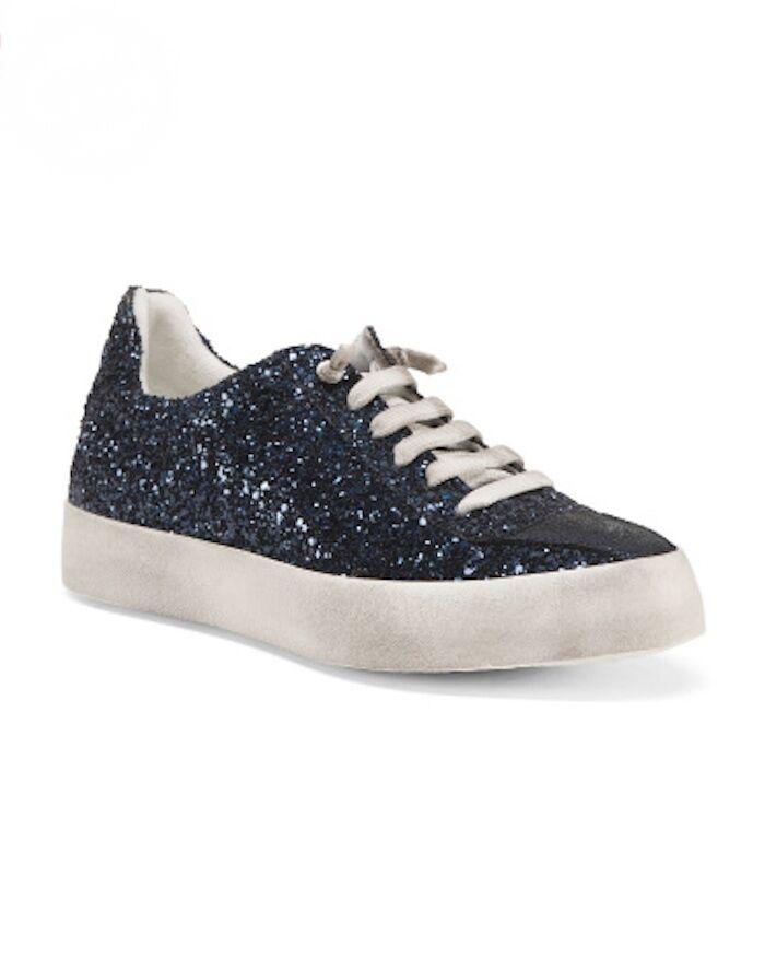 BOEMOS MOS Tela Blue Glitter Sneakers Sz US 8 9 IT 38 39 NIB Made In Italy