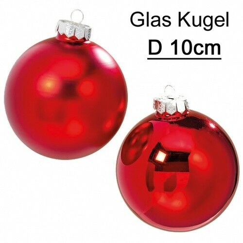 Verre remorque boule rouge Rouge Mat 4tlg D 10 cm Boules De Noël Sapin De Noël Boule