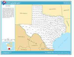 State Of Texas Map With Counties.Details About Texas State Counties Laminated Wall Map