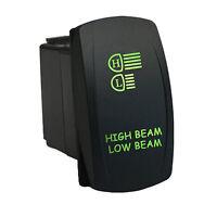 Rocker Switch 639g2 12v High Beam Low Beam Laser On-off-on Led Green Dpdt