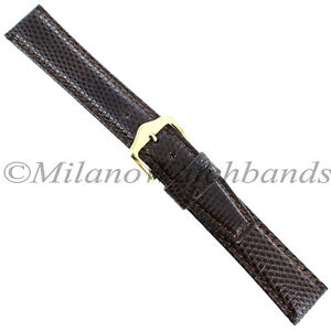 16mm-Gilden-Brown-Luxury-Med-Padded-Stitched-Genuine-Lizard-Mens-Watch-Band-Reg