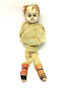 Blue-Eyed-Antique-Old-Cloth-Composition-Cloth-Baby-Doll-Decorative-Collectible
