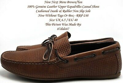 ???? Mens Boys Next Brown/tan Real Leather Woven Espadrilles Casual Comfort Shoes Reines Und Mildes Aroma