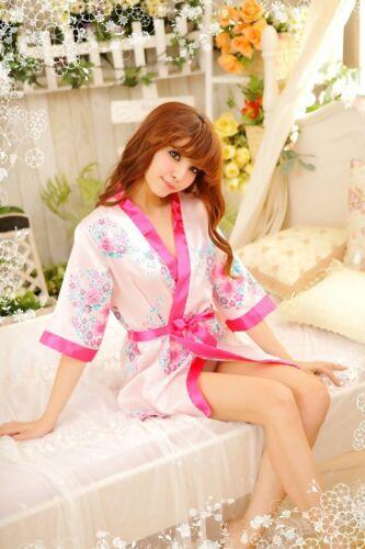 Fashion Women Bridal Bridesmaid Kimono Robe Bow Satin Night Dress Gown UK
