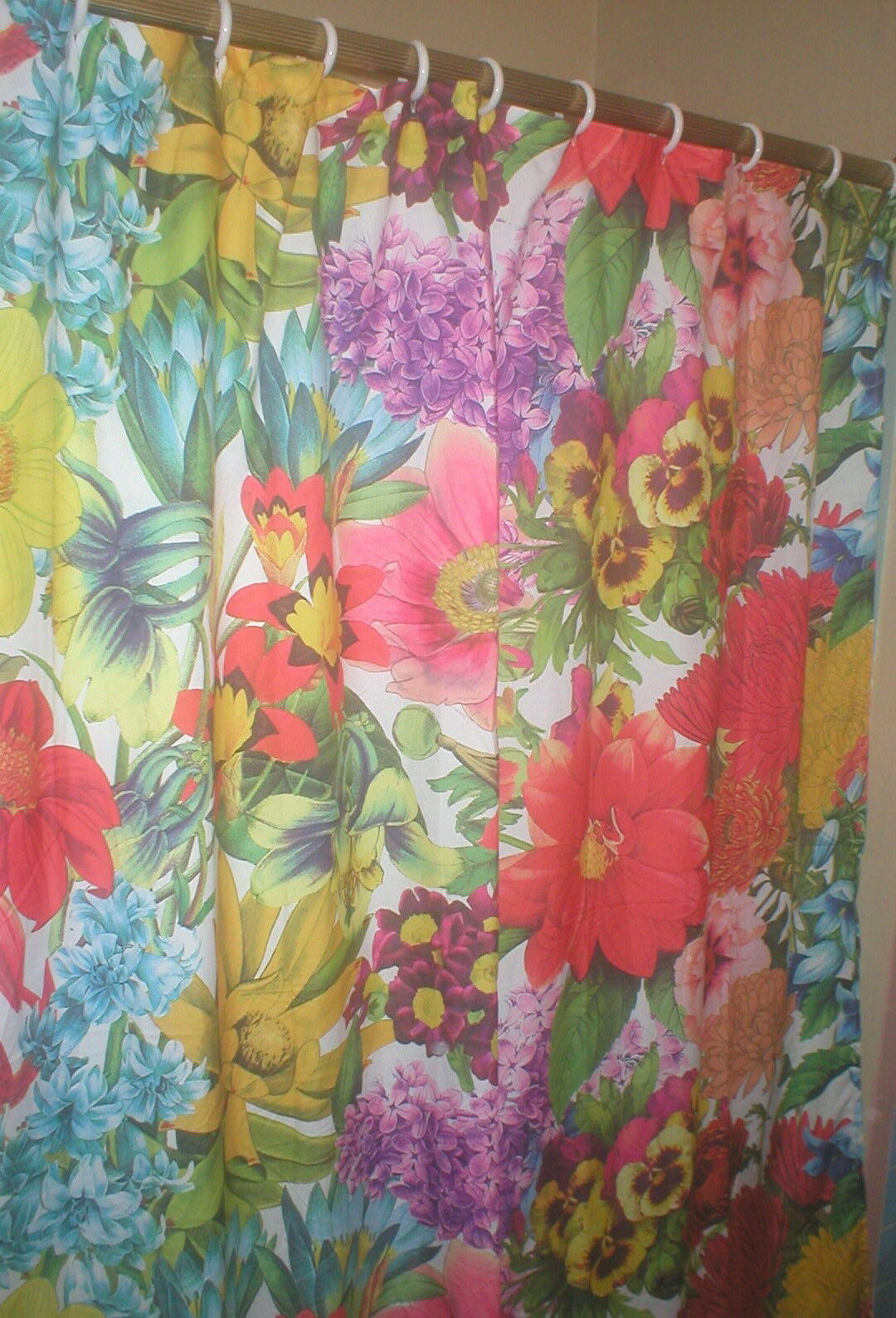 SET OF 2 JUMBO FLORAL SHOWER CURTAINS LILAC PANSY SUNFLOWER 70 X 72
