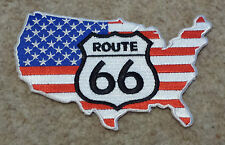 "ROUTE 66 PATCH 5"" Cloth Badge/Emblem American Flag Map USA Biker Jacket Iron Sew"