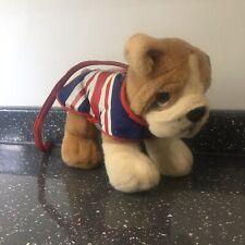 Keel Toys Signature Puppie 30cm Union Jack Bulldog Dog With Lead Cuddly Soft Toy