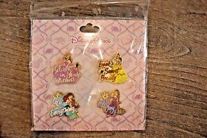 Disney-Pins-Princess-Booster-Set-Belle-Ariel-Aurora-Rapunzel-NEW-FREE-SHIPPING