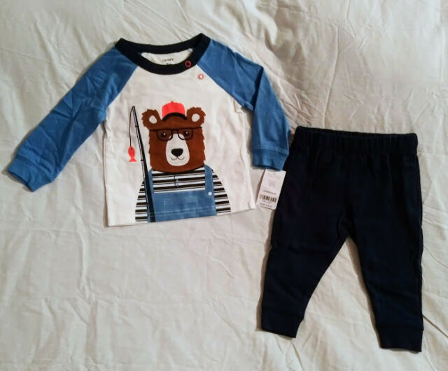 NWT Carters Baby Boy 2 Piece Set 9 M Month Bear Blue Navy Long Sleeves Pants c56be63ef05b