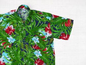 Hawaiihemd-Hawaii-Hawai-Hemd-gruen-Blaetter-Hibiskus-rot-blau