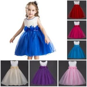 Ball-Gown-Princess-Girls-Dress-Lined-Sparkly-Wedding-Birthday-Party-Kids-Clothes